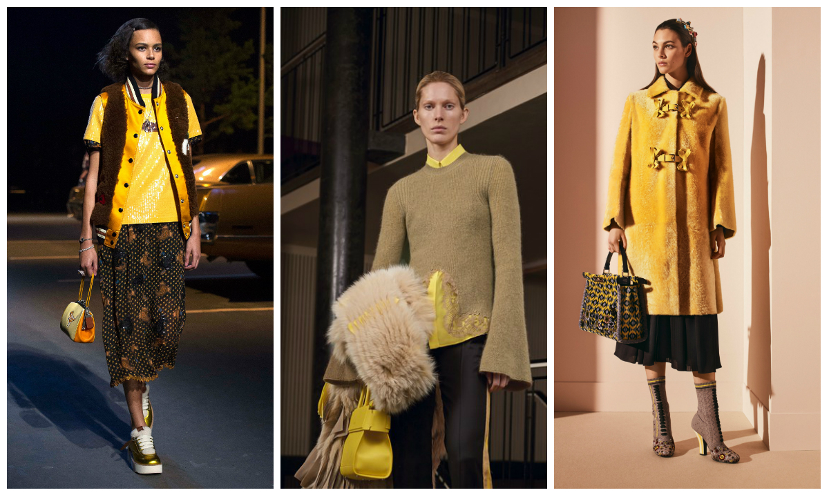 Amarillo visto en el Pre fall de Coach, Bottega Veneta y Fendi. Fotos: Vogue.