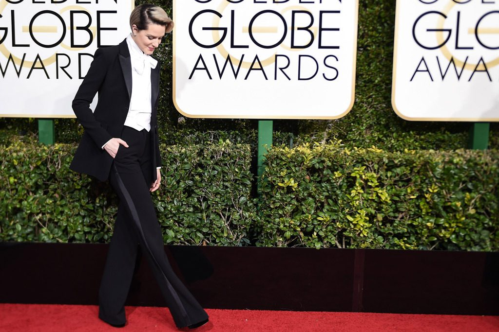 Evan Rachel Wood en los Golden Globes / Foto: Footwear News