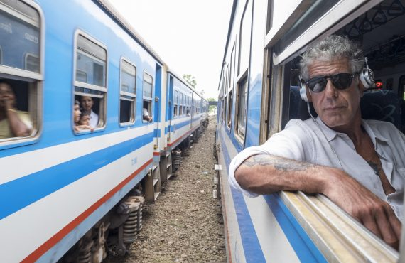 May 25, 2017: Anthony Bourdain rides a train from Colombo, Sri Lanka north to Jaffna, Sri Lanka on May 25, 2017. (photo by David Scott Holloway)